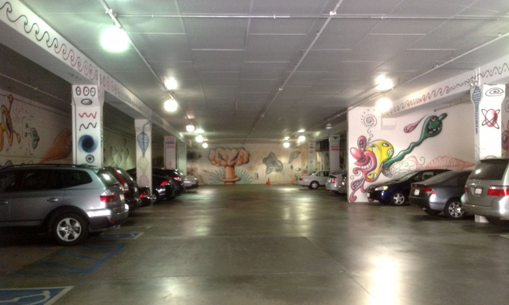 Graffiti by Kenny Scharf in garage of Pasadena Museum of California Art (Photo:Tim Jones)