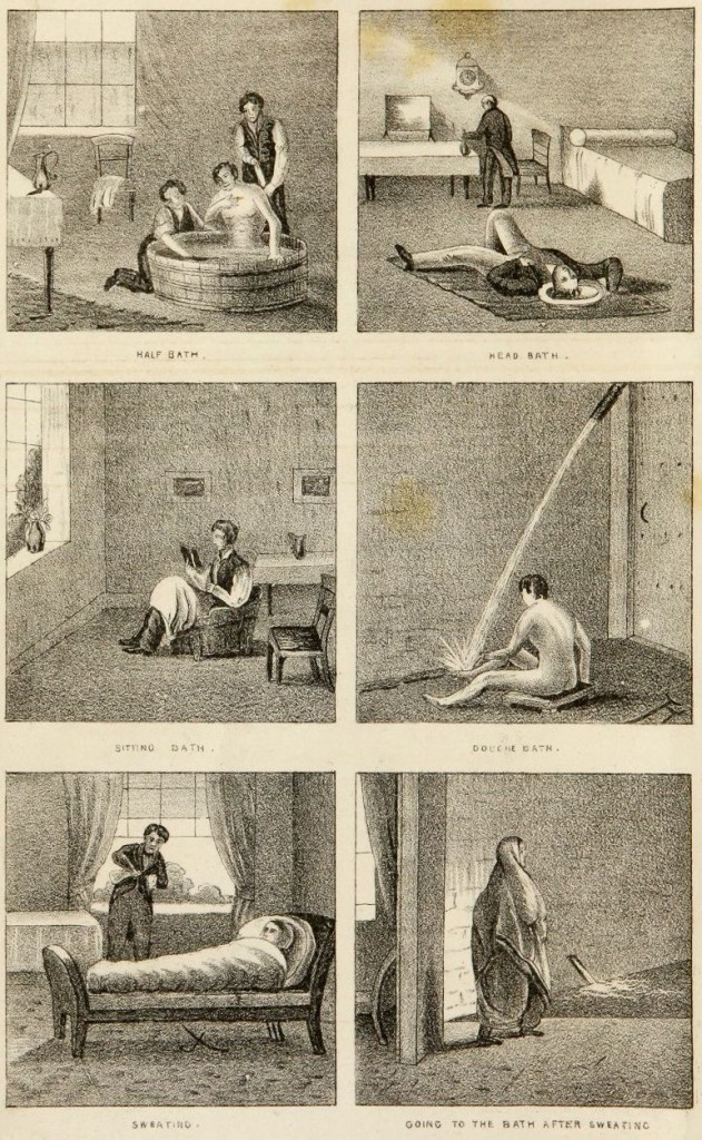 Some of the water treatments Gully and Wilson would have used. From: Hydropathy, or, The water-cure: its principles, modes of treatment. Joel Shew, Wiley & Putnam 1844 (Ref.5)