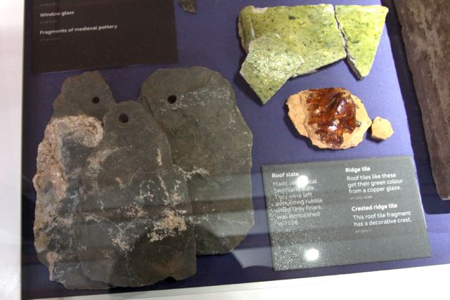 Swithland slate roof tiles recovered from Greyfriars Priory (Photo: Tim Jones)