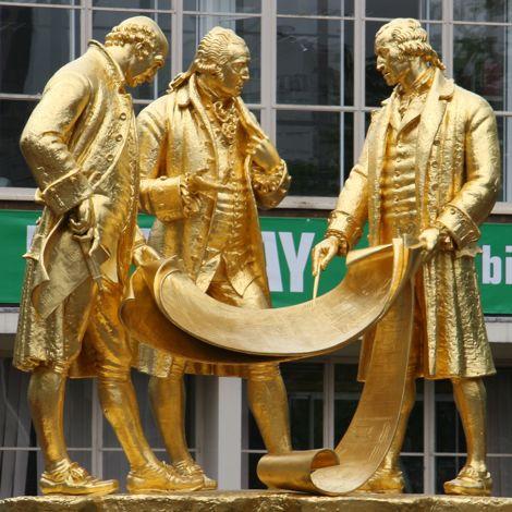 Statue of Boulton, Watt, and Murdoch in Birmingham, UK
