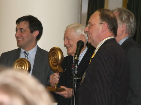 Dr Evan Harris MP and  Lord Avebury, with Executive Director NSS Keith Porteous Wood