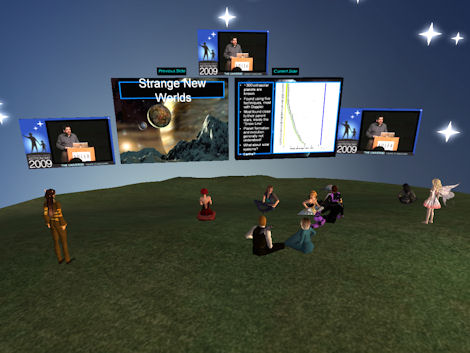 Scott Gaudi speaking from the Adler Planetarium into Second Life