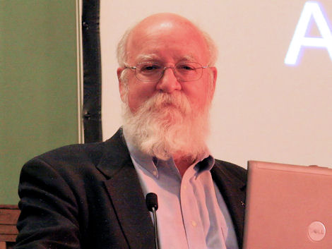 Daniel Dennett speaking at the BHA event at Conway Hall
