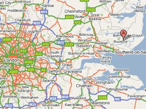 Paglesham location Nr. Rochford (image Google Maps)