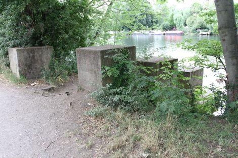 Anti-tank roadblock concrete cubes near Sunbury