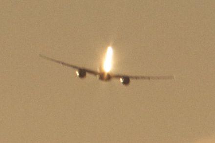 Sun reflecting off aircraft tail-fin (Photo: Tim Jones)