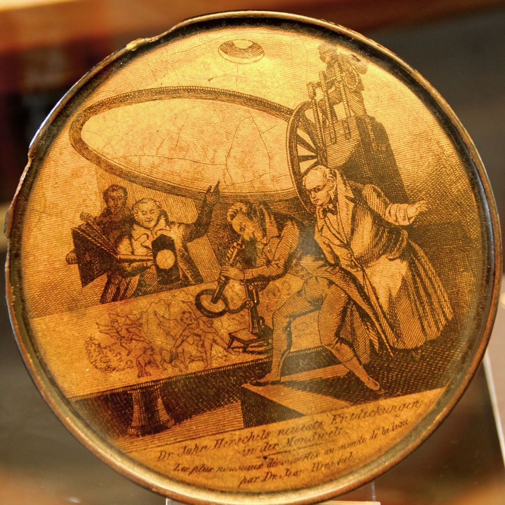 Herschell pictured on a papier mache box lid at the Museum of the History of Science, Oxford (Photo: Tim Jones)
