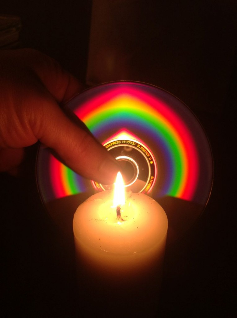 spectrum of candle flame by diffraction from CD