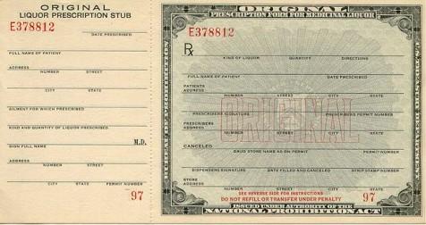 Prescription form for medicinal liquor (Wikicommons)