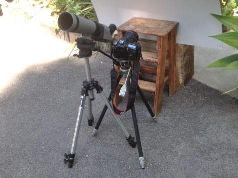 Rig for projecting and photographing the eclipse.