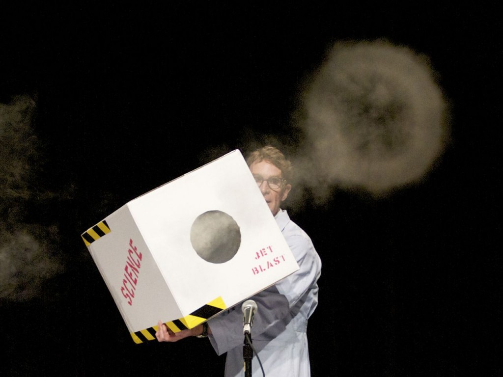 Bill Nye launching smoke pulse (Photo: Tim Jones)