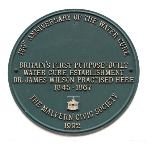 Plaque to the first purpose built water cure establishment (Photo:Tim Jones)