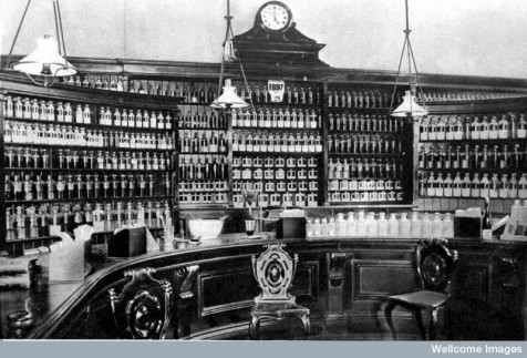Interior of typical victorian pharmacy